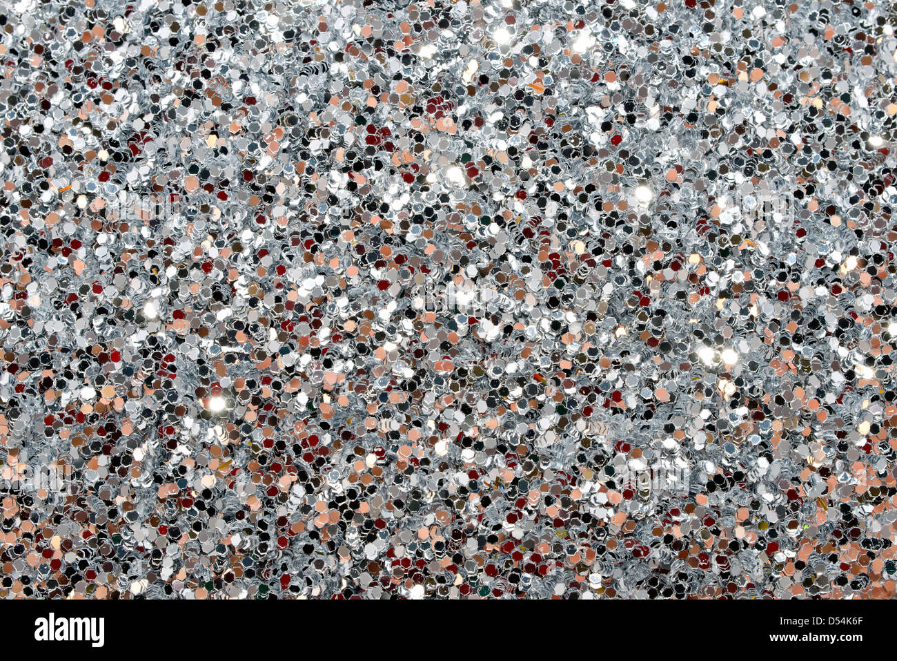 Closeup Tinsel silver background - Stock Image