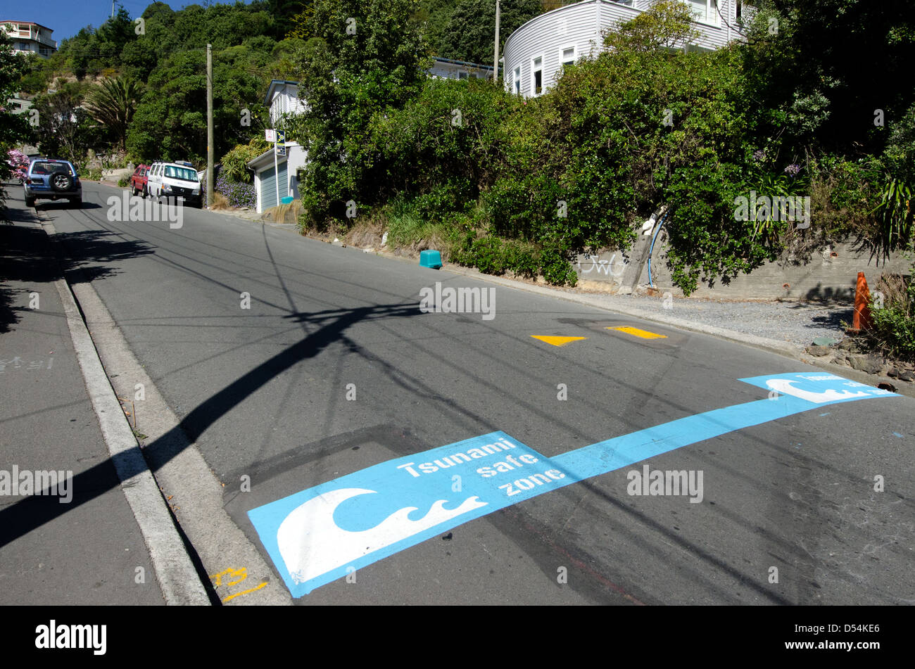 Tsunami safe zone marked on the streets of Wellington city, New Zealand. Stock Photo