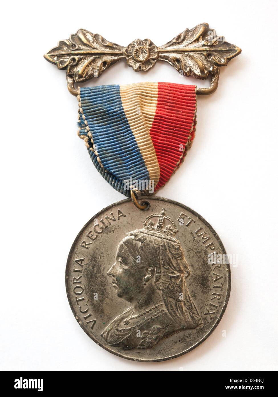A Commemorative Medal issued in 1897 for the Diamond Jubilee of Victoria, British Queen and Empress of India - Stock Image