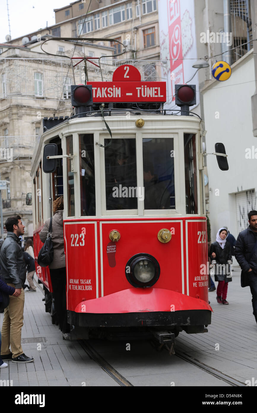 Antique tram that runs along Istiklal Caddesi between Tunel and Taxim Squares in Beyoglu. - Stock Image
