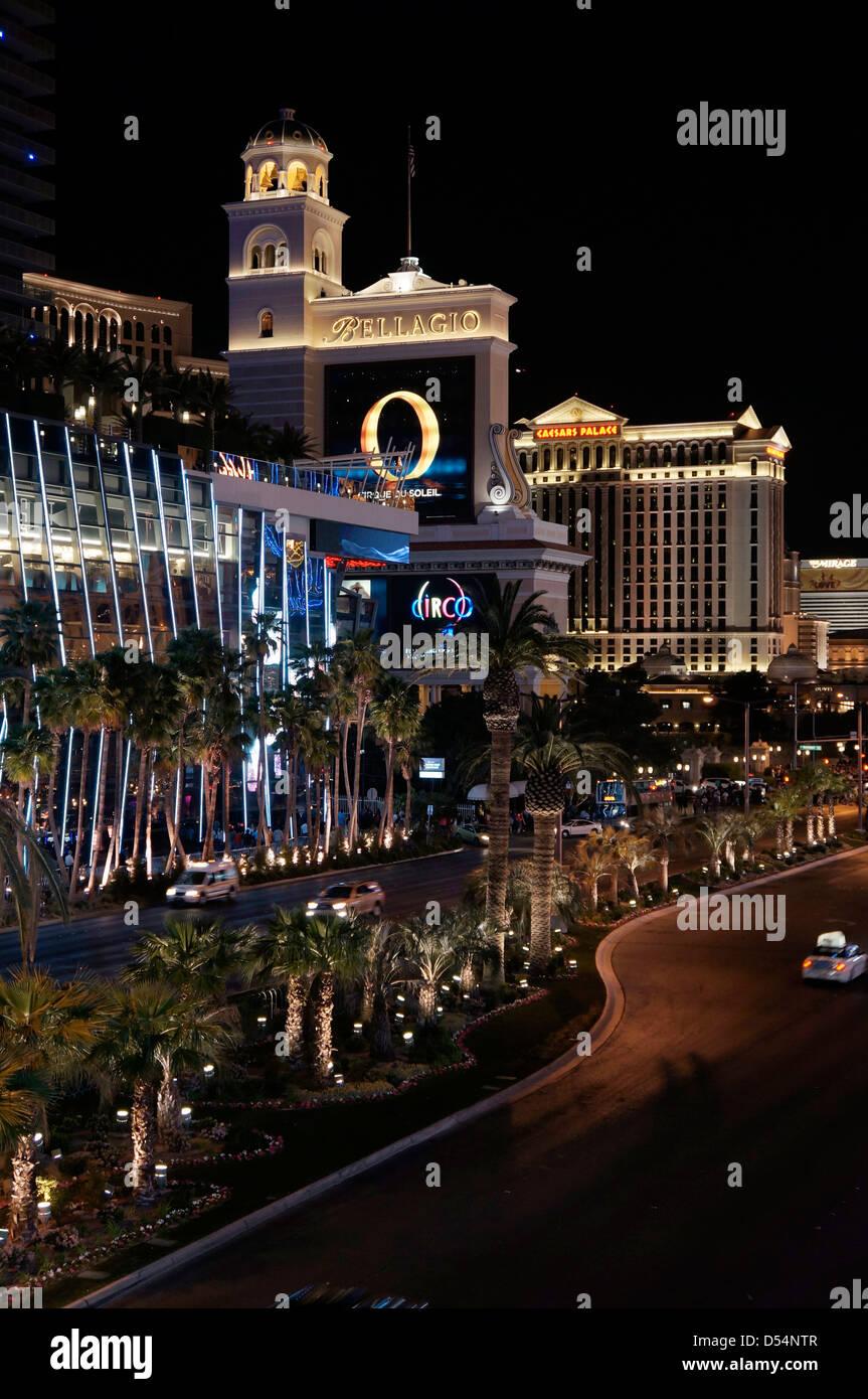 Bellagio, Caesars Palace, Night, Las Vegas Strip - Stock Image