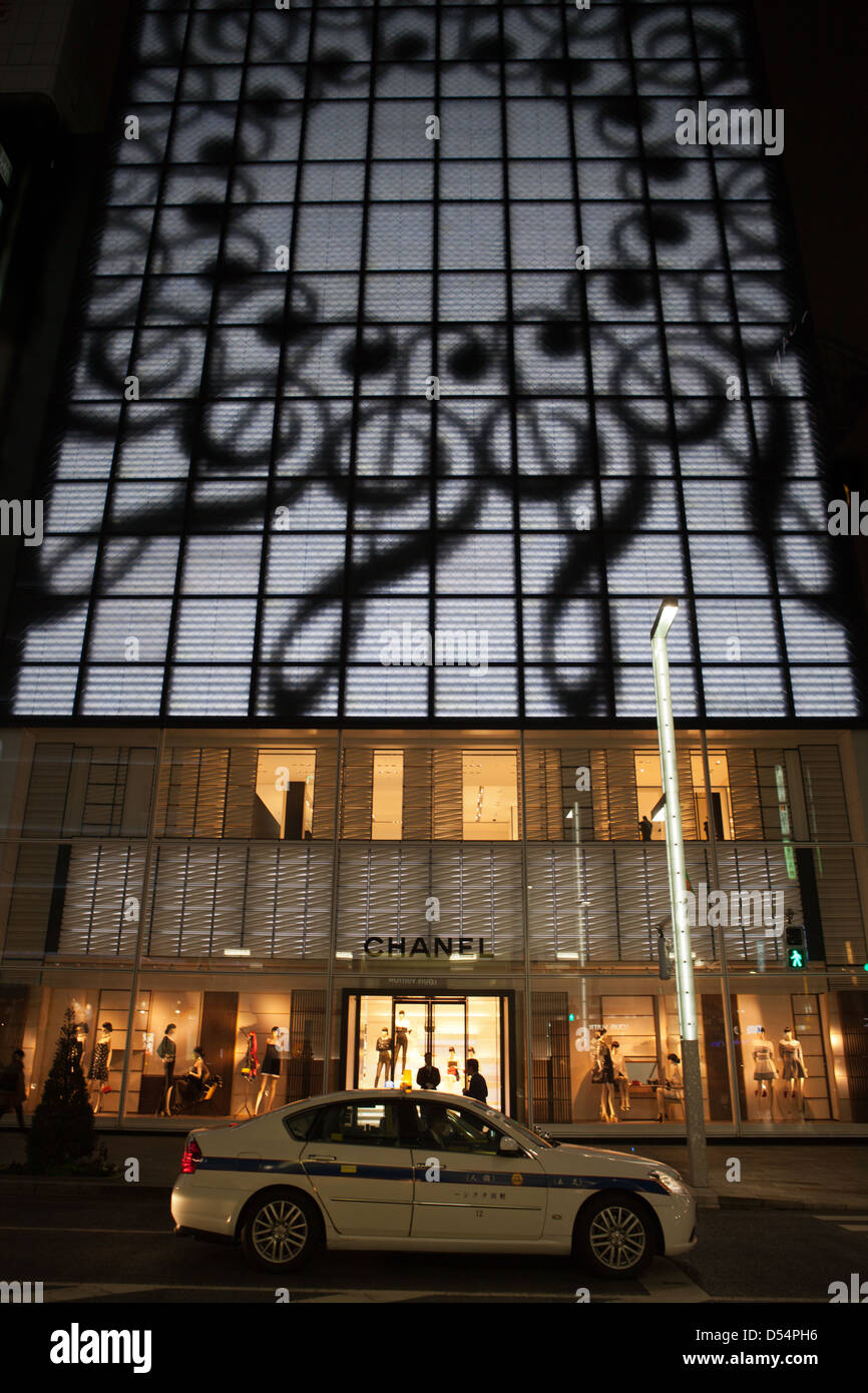 Ginza is known as an upscale area of Tokyo with upscale fashion flagship stores are located here, including Chanel, - Stock Image
