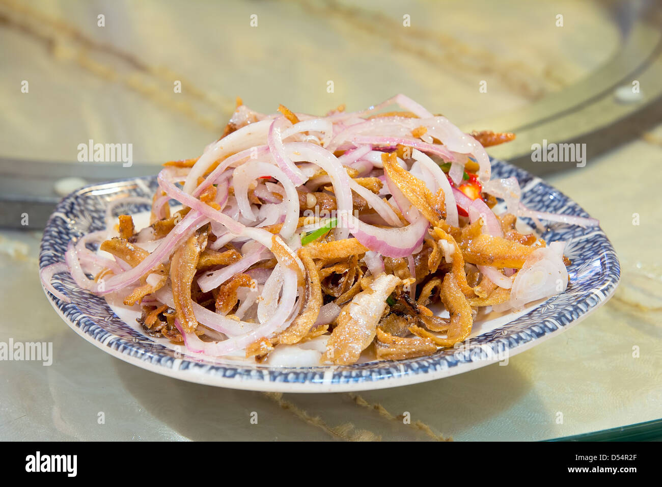 Nonya Peranakan Anchovies with Red Onions and Chili Side Dish - Stock Image