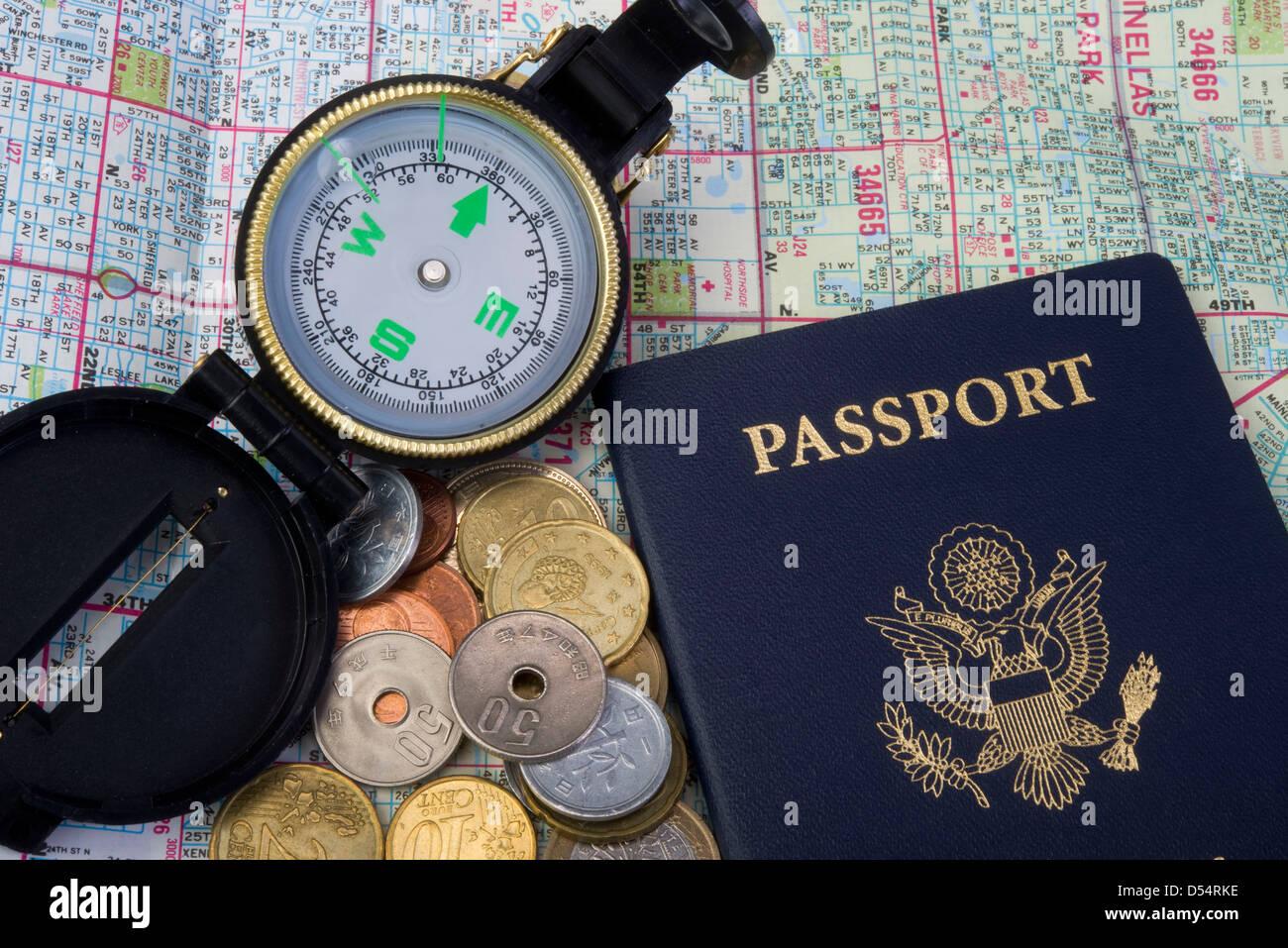 Passport and Travel. - Stock Image