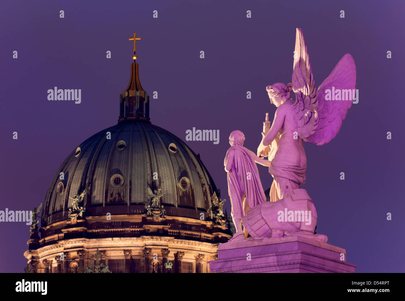 Berlin, Germany, figure Nike teaches the boy hero legends and the Berlin Cathedral - Stock Image