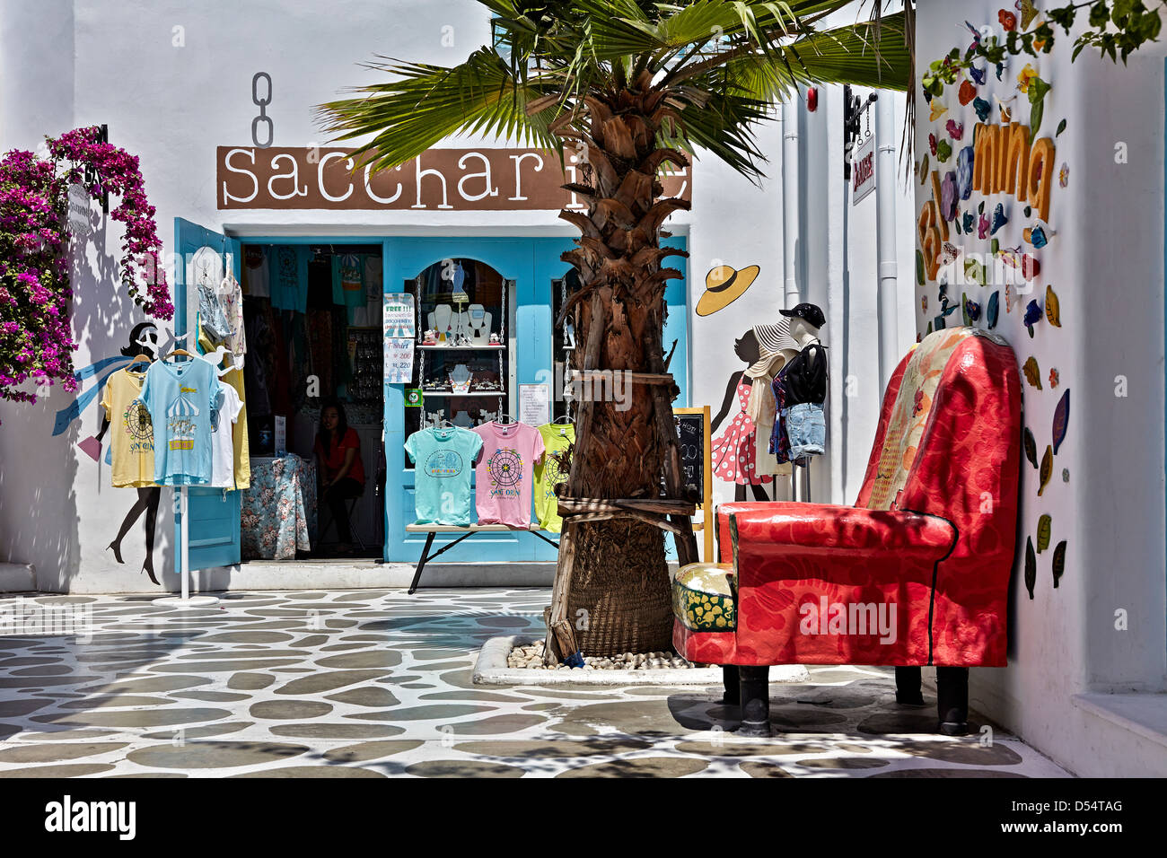 Greece styled shopping area and street replicated at a Thai shopping mall. Thailand S. E. Asia - Stock Image
