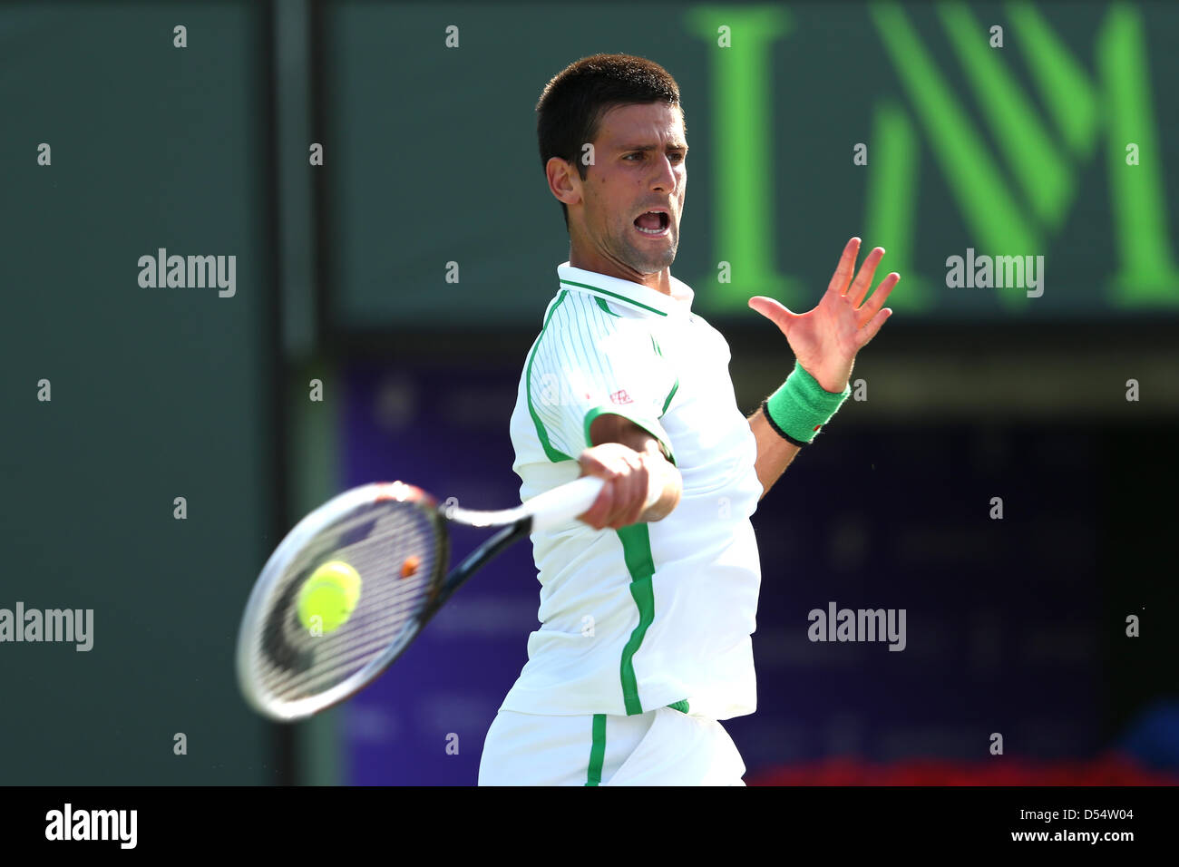 Miami, Florida, USA. 24th March 2013. Novak Djokovic of Serbia in action at the Sony Open 2013. Credit:  Mauricio - Stock Image