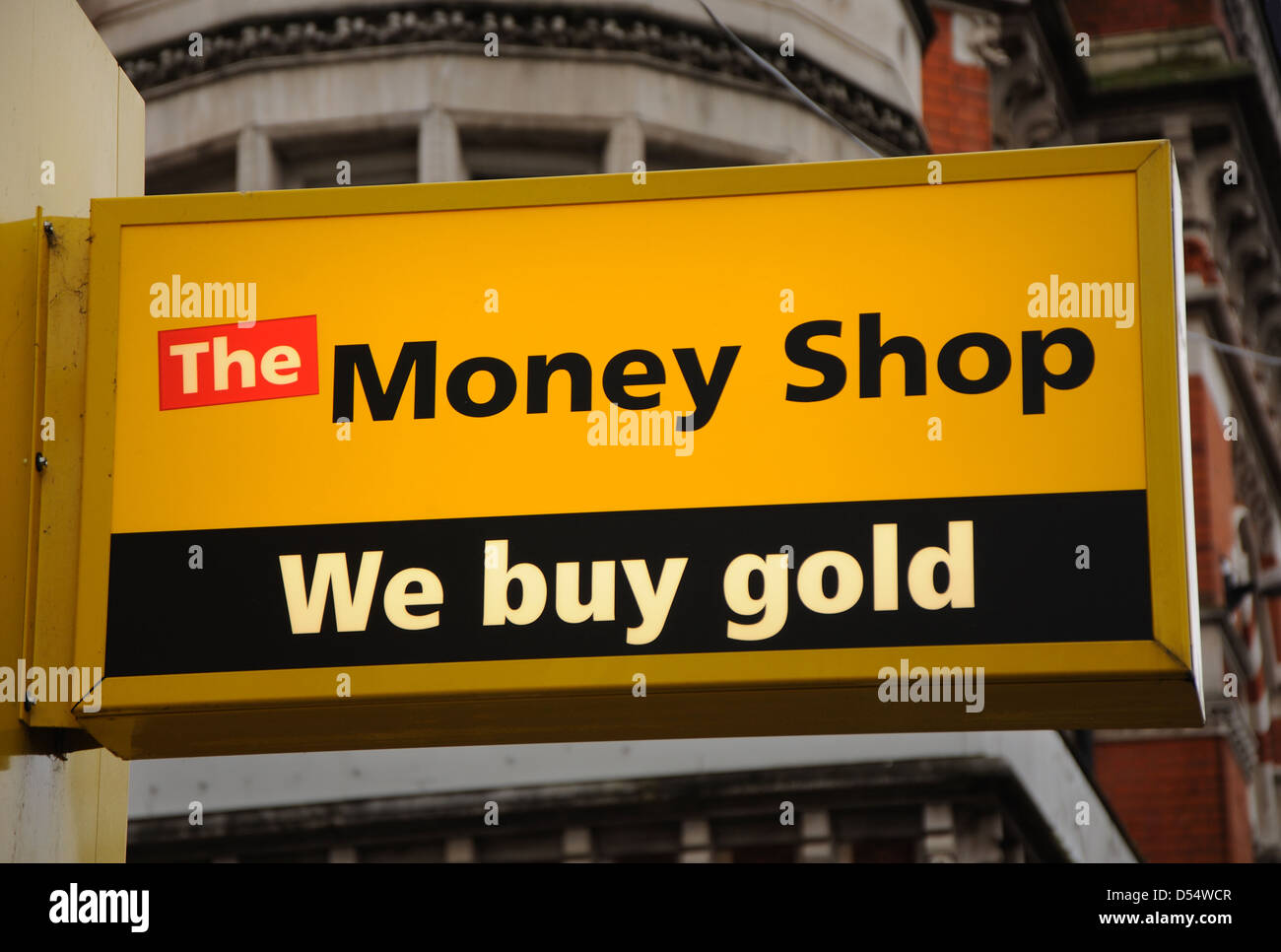 The Money Shop, We Buy Gold, sign, Granby Street, Leicester, England, UK - Stock Image