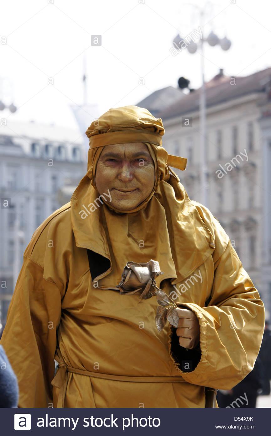 Zagreb,Croatia. Mime on Ban Jelacic Square - Stock Image