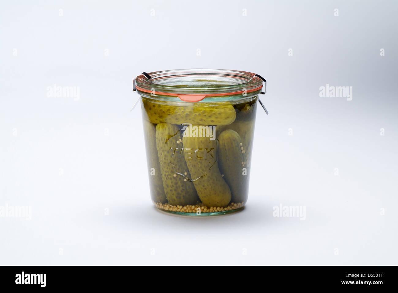 Hamburg, Germany, with a pickle jar - Stock Image