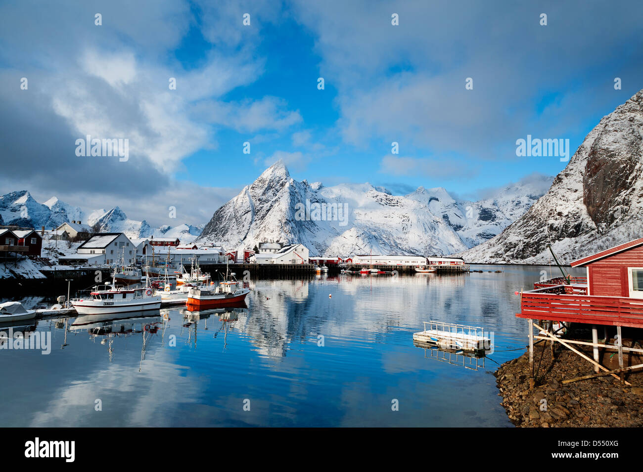 Boats in the harbour at Hamnoy on the Lofoten Islands, Norway - Stock Image
