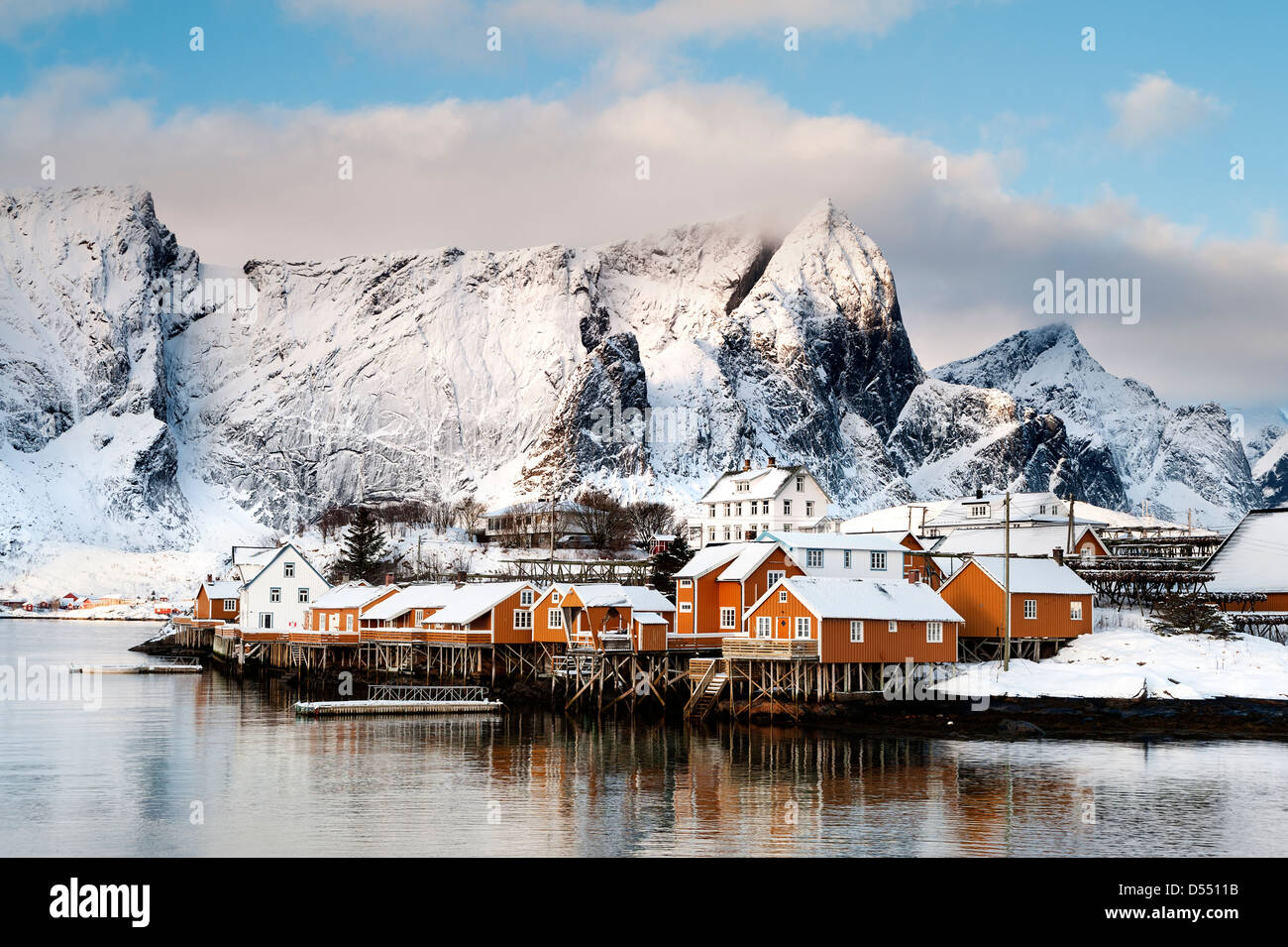 A view of Rorbus at Sakrisoy on the Lofoten islands with Navaren in the background - Stock Image