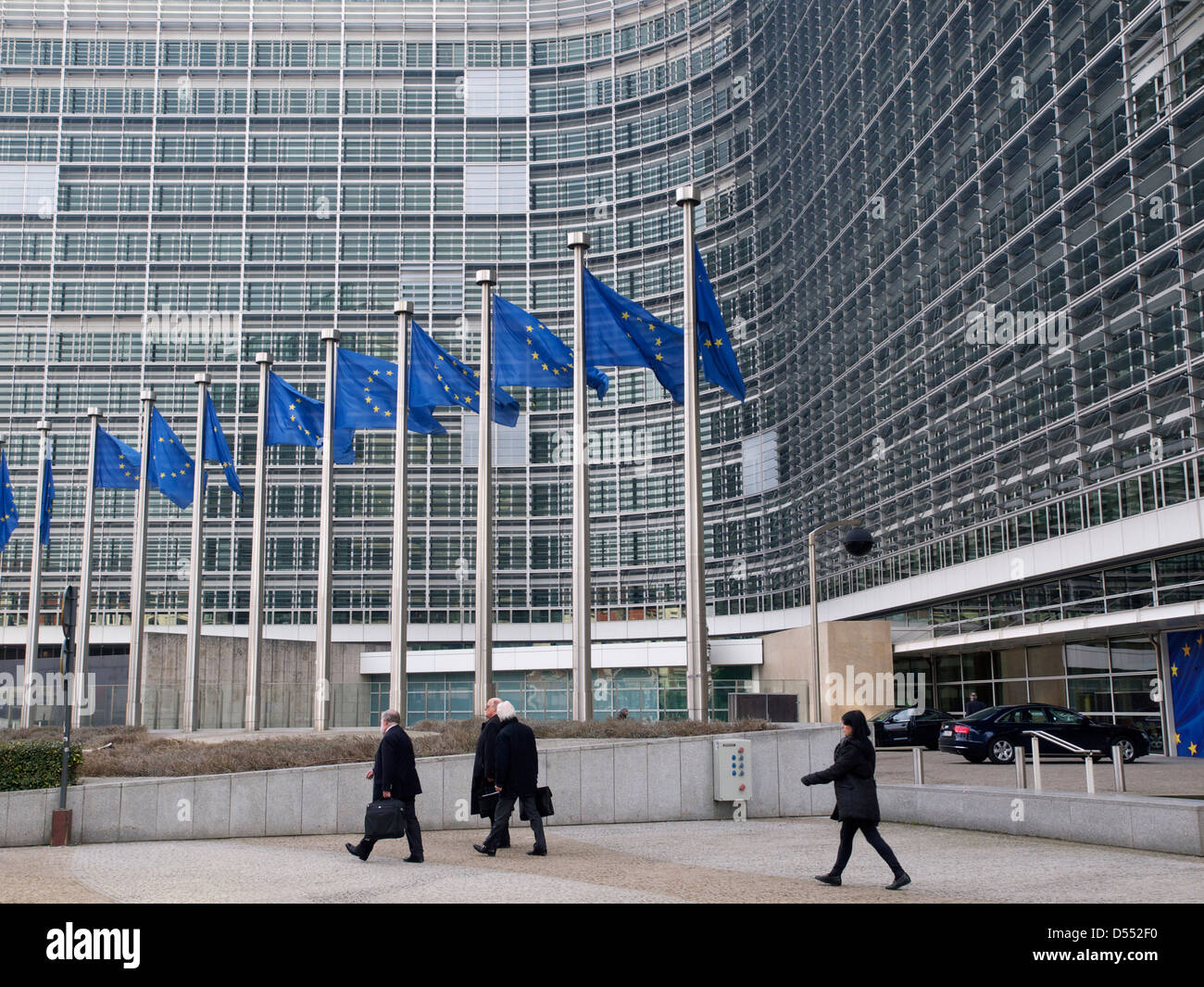 People at the Berlaymont European Commission building in Brussels, Belgium - Stock Image