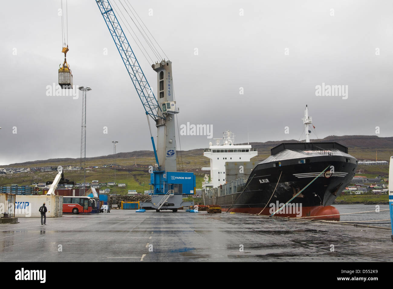 Container Cargoship Faroe Islands Torshavn Shipping Stock Photo
