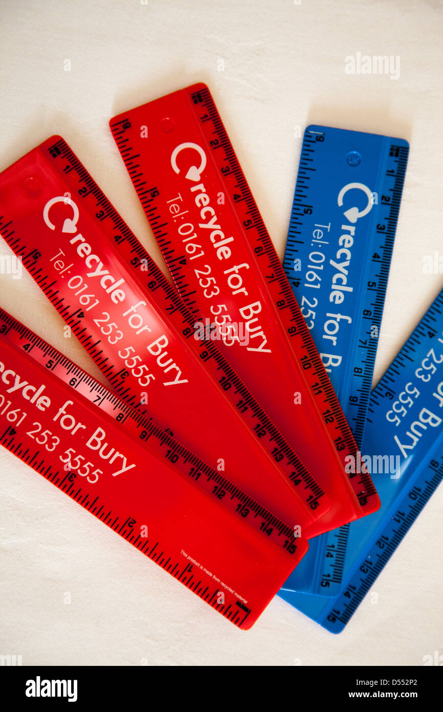 'Recycle for Bury'_Recycled 6inch/150mm flat ruler Made from recycled UK waste CD cases. - Stock Image