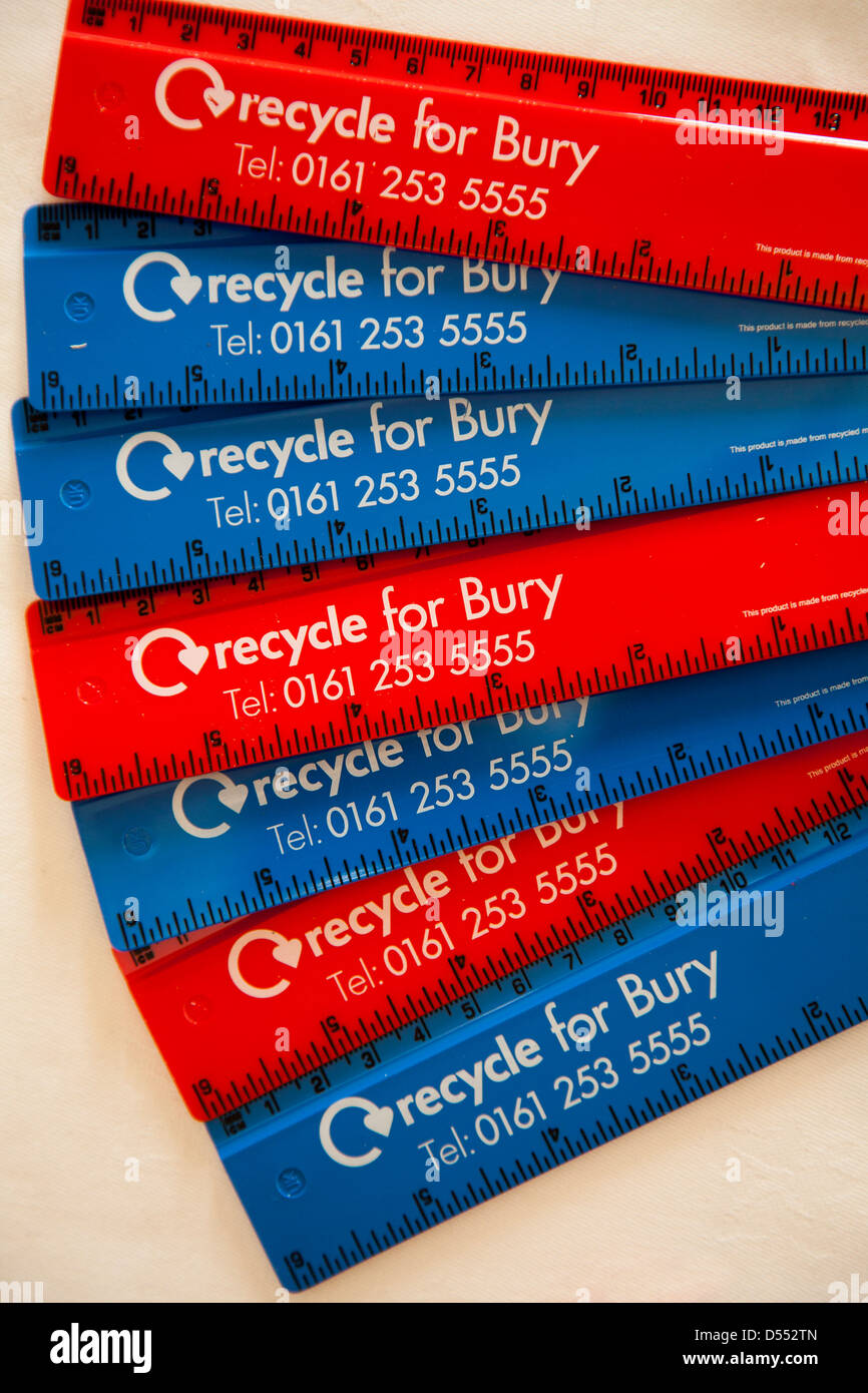 'Recycle for Bury'_Recycled 6inch/150mm flat ruler Made from recycled UK waste CD cases and recycled plastic - Stock Image