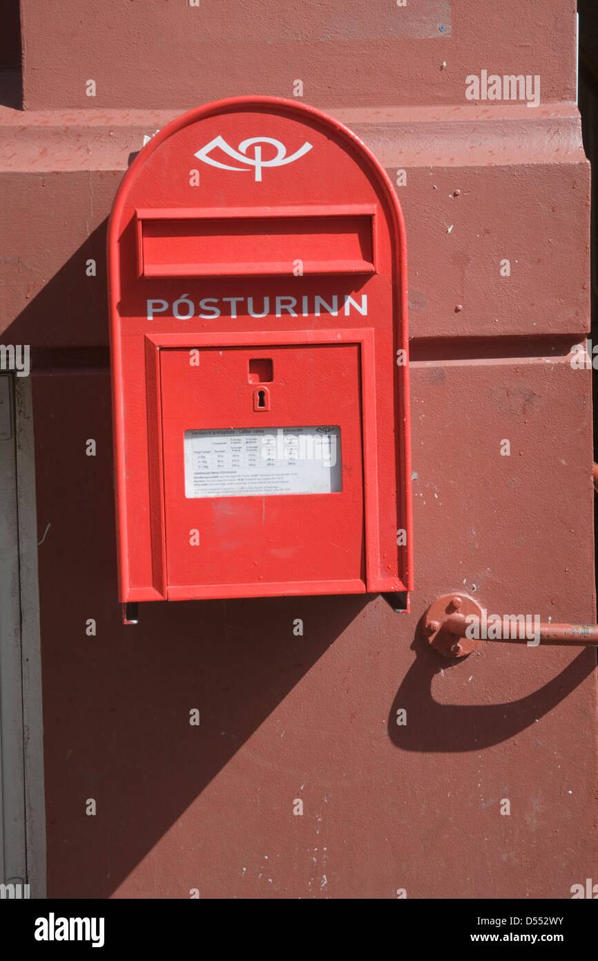 Iceland Reykjavik Red Postbox - Stock Image
