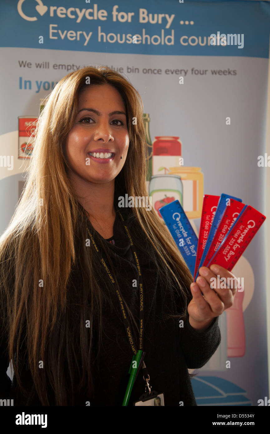 Shabeena Majid _Recycled 6inch/150mm ruler Made from recycled UK waste CD cases, recycled plastic in Bury, Lancashire, - Stock Image