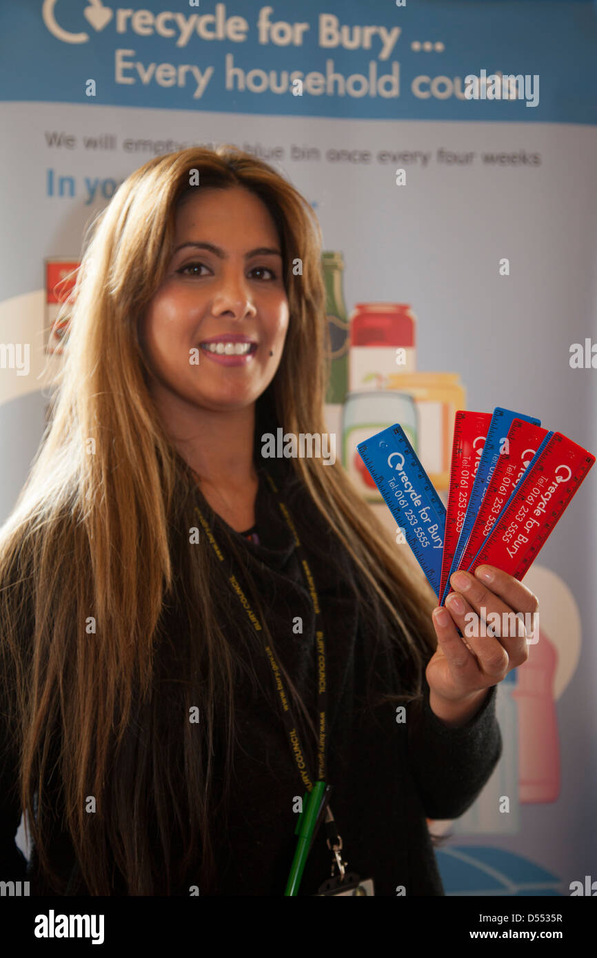 Shabeena Majid. Holding Recycled 6inch 150mm ruler Made from recycled UK waste CD cases & recycled plastic in - Stock Image