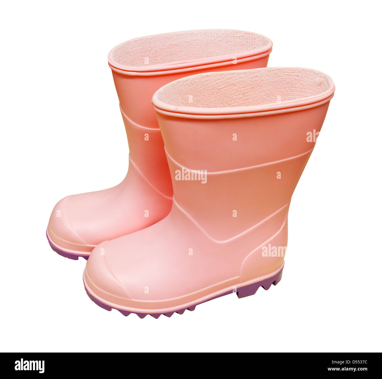 A pair of pink wellington boots isolated against a white background Stock Photo