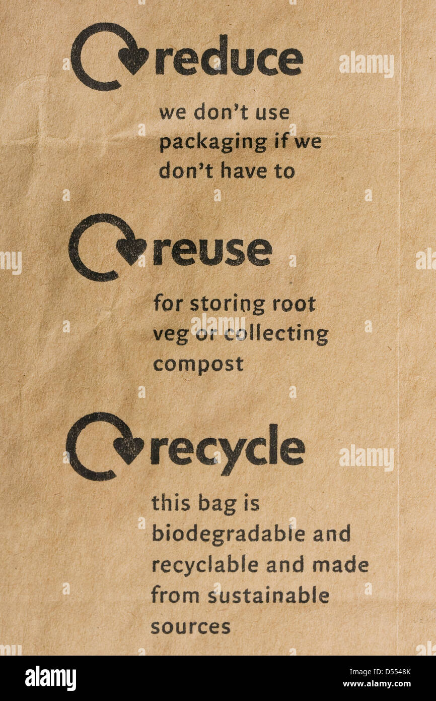 Reduce, reuse, recycle logo on a brown paper bag. - Stock Image