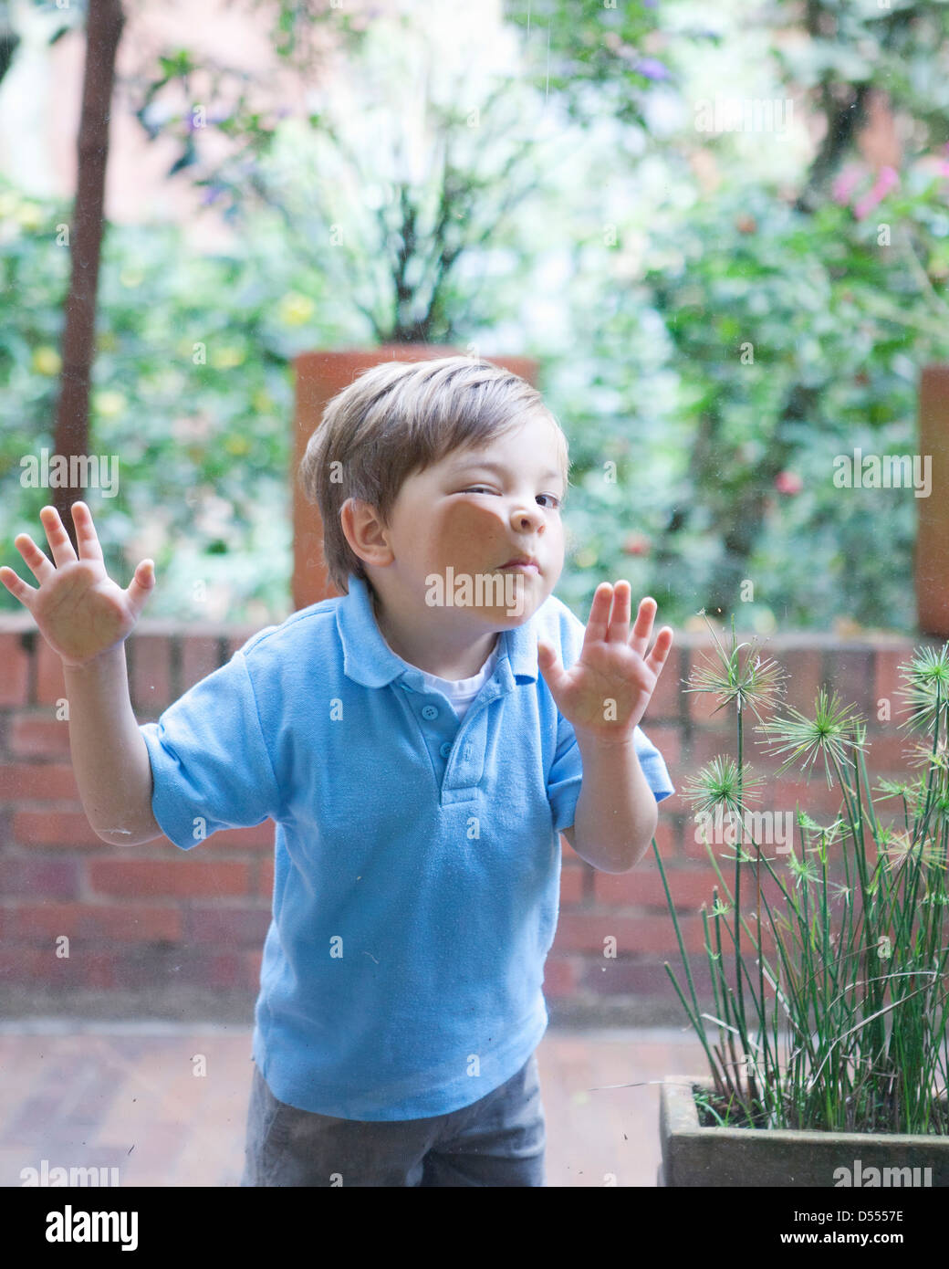 Boy pressing face against glass - Stock Image
