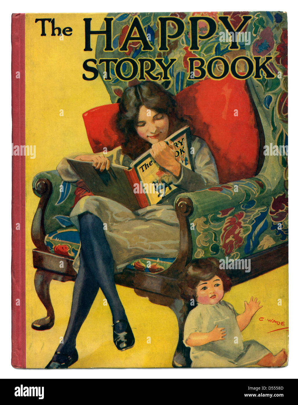 The Happy Story Book featured a girl reading the self-same book on the cover. - a vintage cover c. 1930 - Stock Image