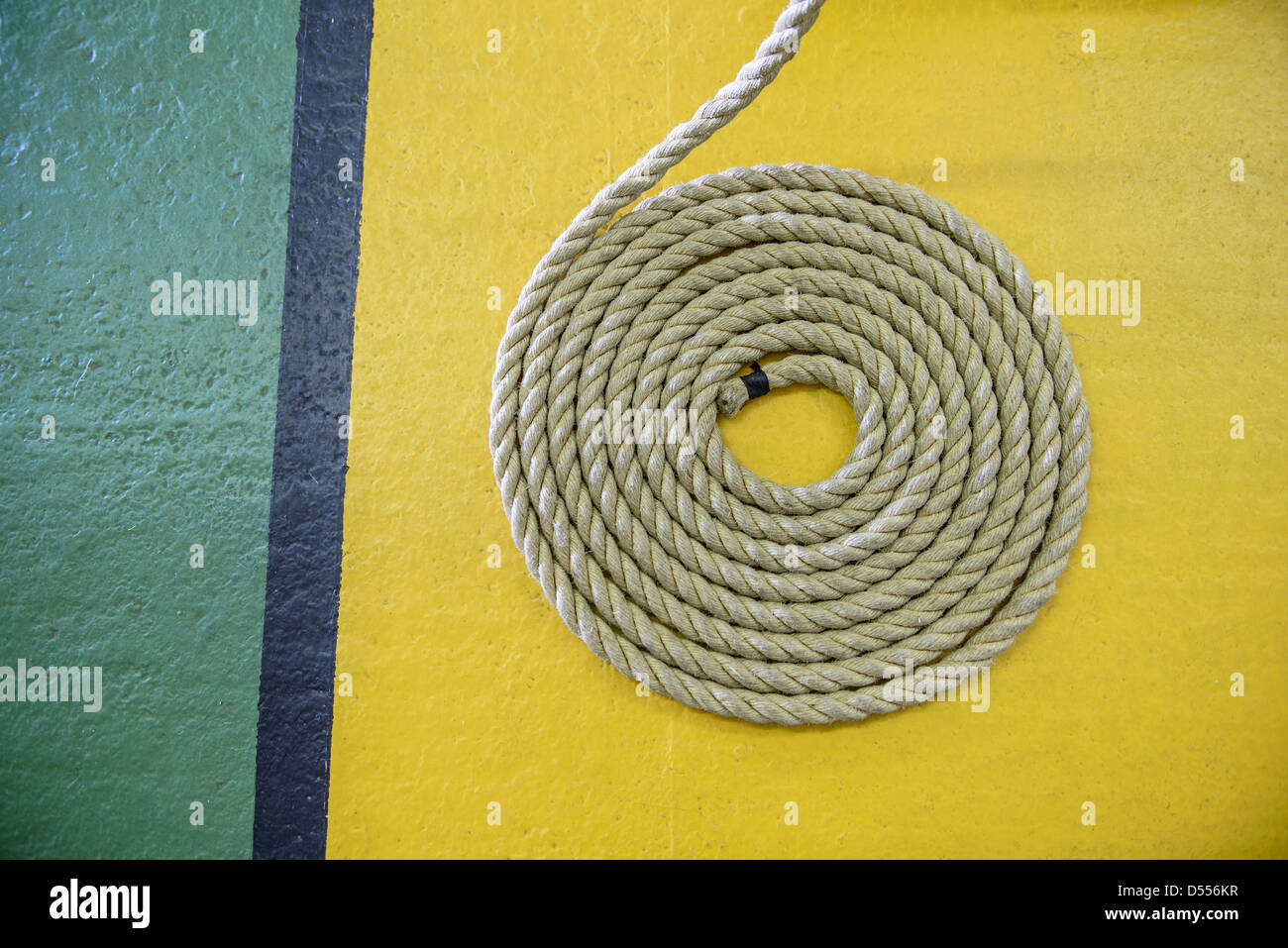 Close up of coiled rope - Stock Image