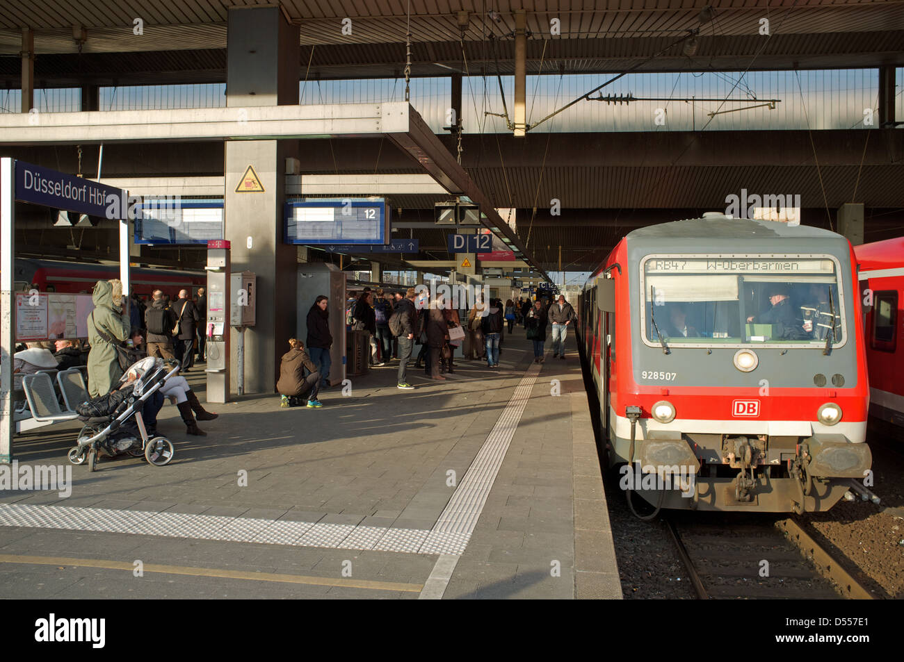 Local passenger train (RB47 Regional-Bahn) to Wuppertal, Dusseldorf HBF station Germany Stock Photo