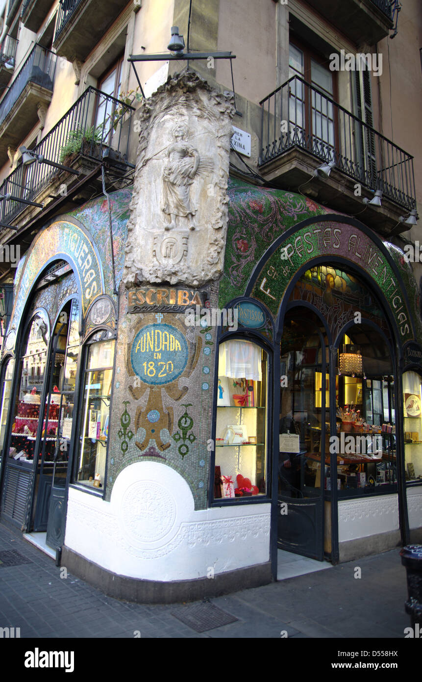 Famous Escribà bakery in the Rambla of Barcelona with art deco facade. - Stock Image