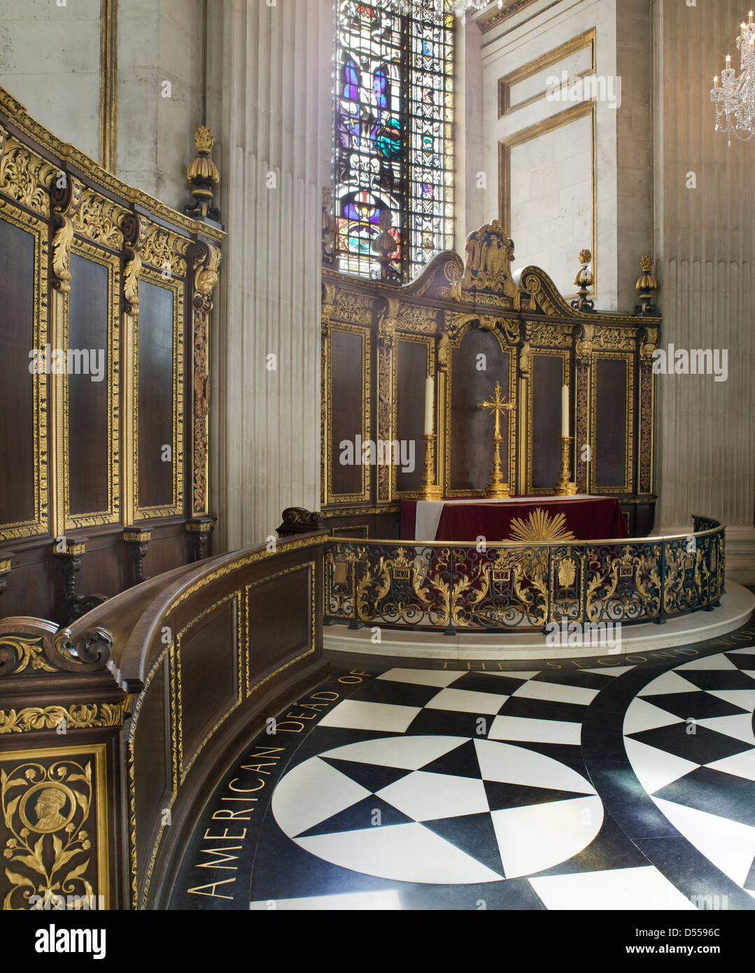 Saint Paul's Cathedral, London. American Memorial Chapel, Stock Photo