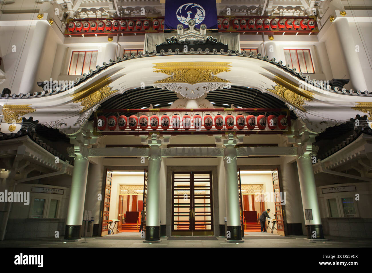 Tokyo's famous Kabuki-za Theater first opened in 1889.  Kabuki-za's reconstruction is now complete reopening - Stock Image