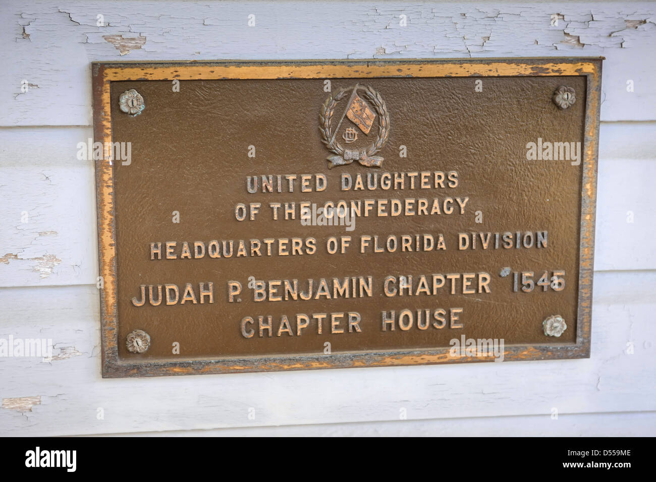 Plaque on the wall of the HQ of the Daughters of the Confederacy Florida Divison at Ellenton - Stock Image