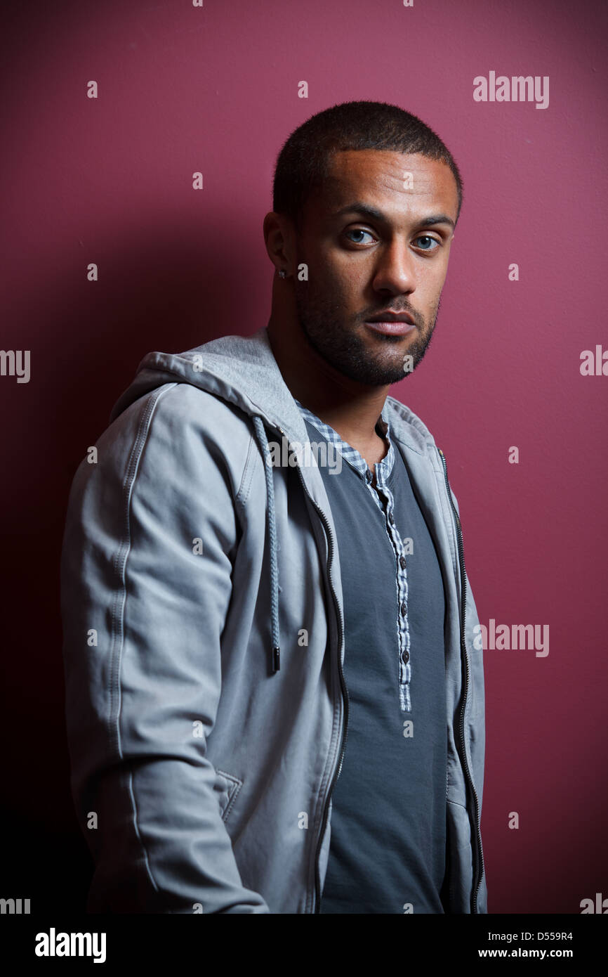 Portraits of Swansea City Footballer, Wayne Routledge - Stock Image