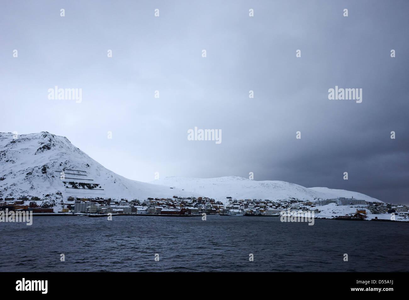 approaching Honningsvag finnmark norway europe - Stock Image