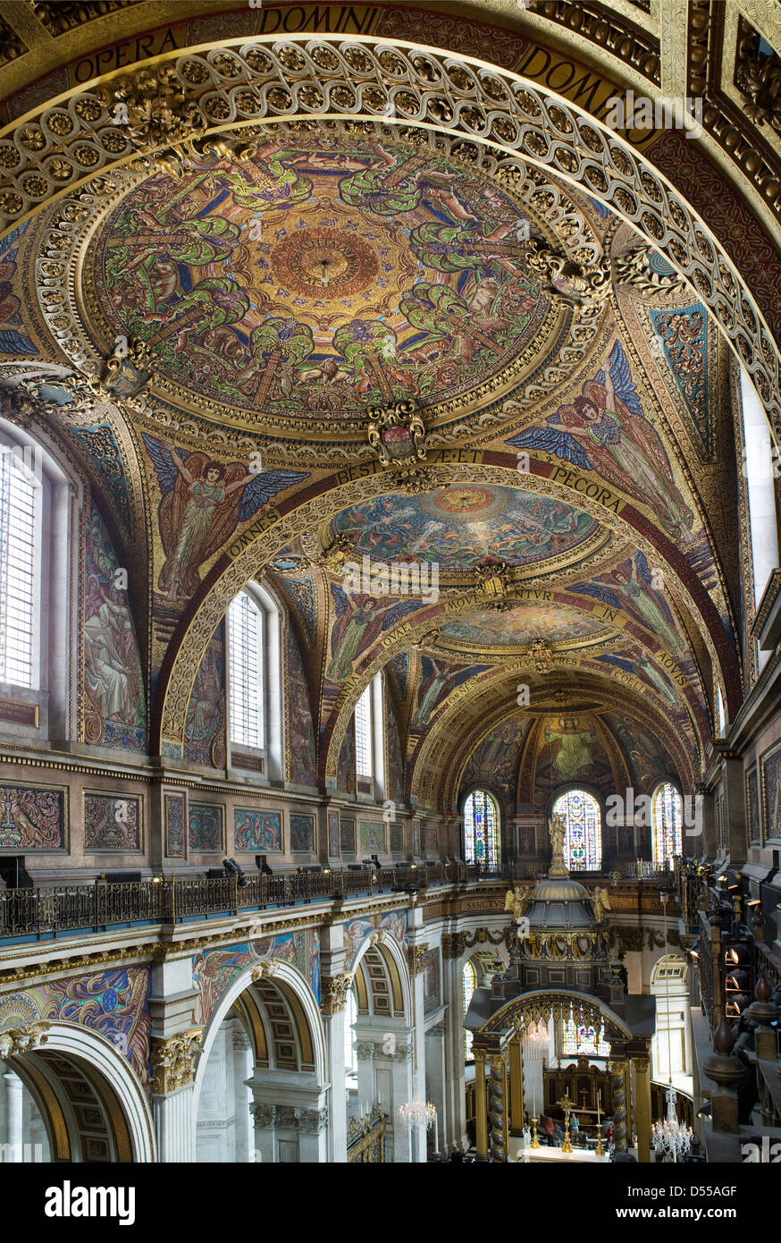 Saint Paul's Cathedral, London. Mosaics in the saucer domes of the quire or choir, - Stock Image