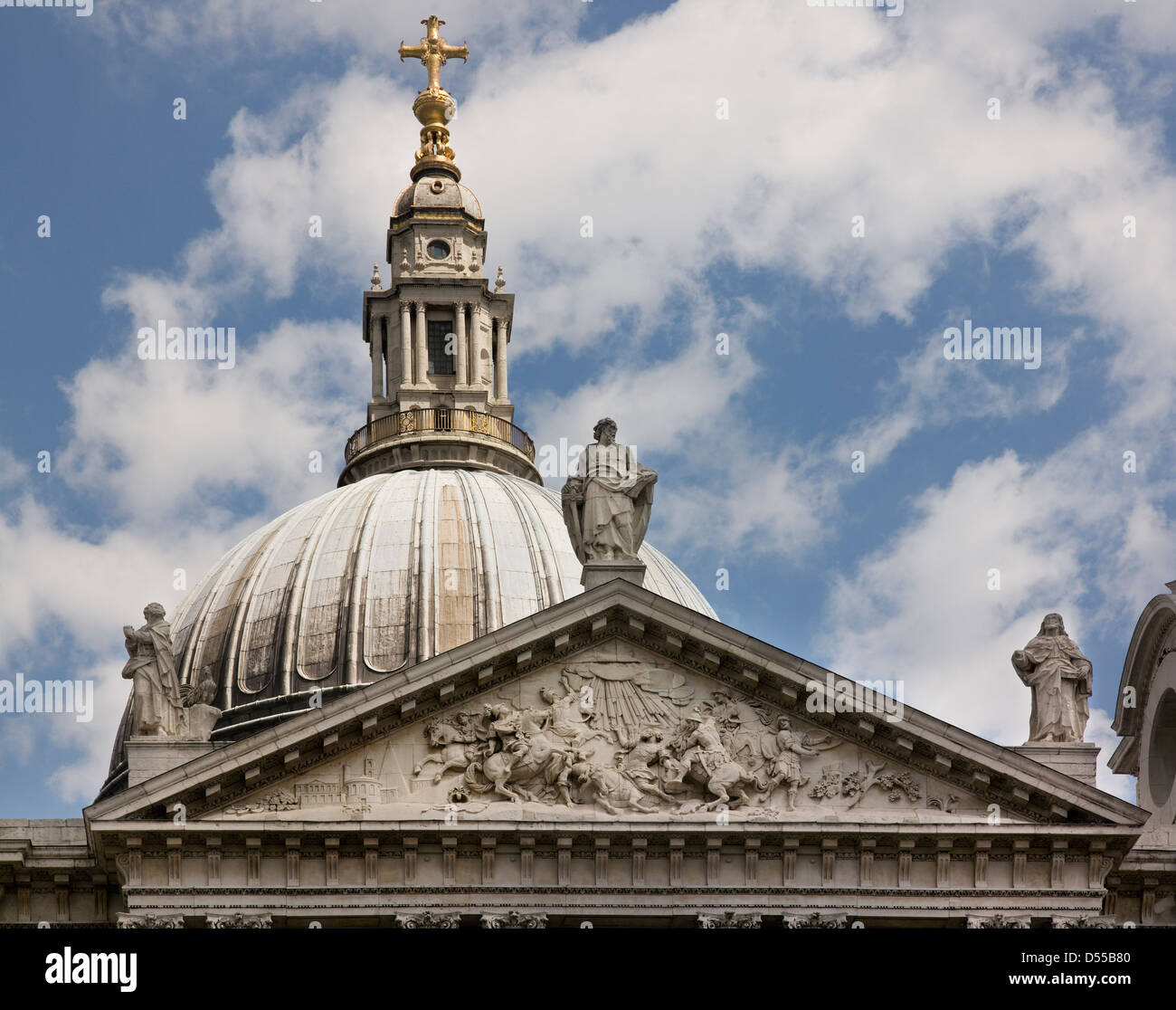 Saint Paul's Cathedral, London dome & pediment - Stock Image