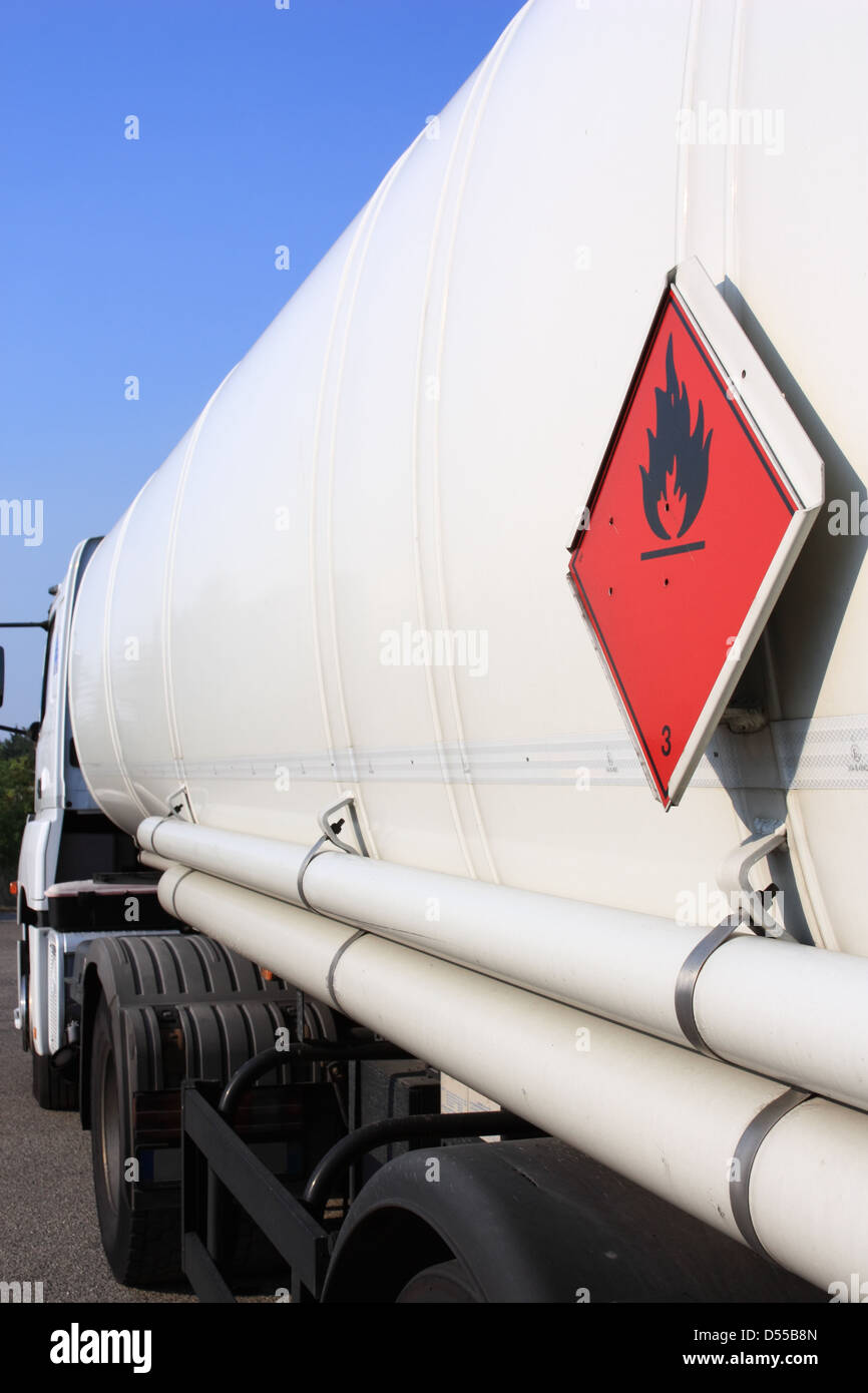 Fuel and flammable liquid tanker truck - Stock Image