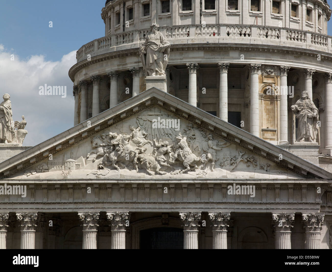 Saint Paul's Cathedral, London, pediment and dome collonade - Stock Image