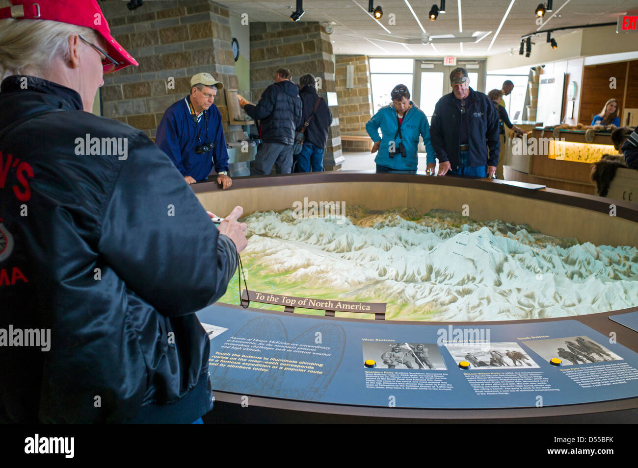 Denali National Park Topographic Map.Park Visitors View A Three Dimensional Topographical Map On Display