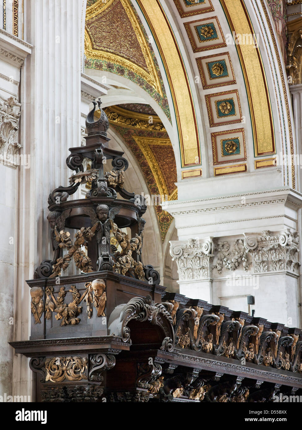 Saint Paul's Cathedral London. By Sir Christopher Wren, 1675-1710. View of choir or quire stalls - Stock Image