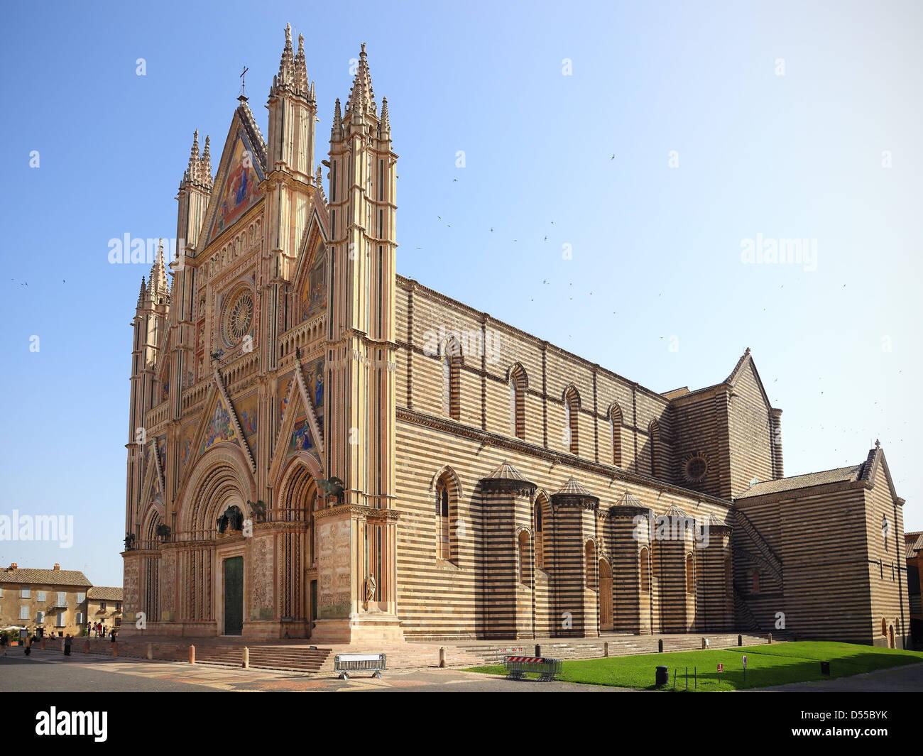 Duomo di Orvieto,cathedral. Decorated facade, Umbria, Italy - Stock Image