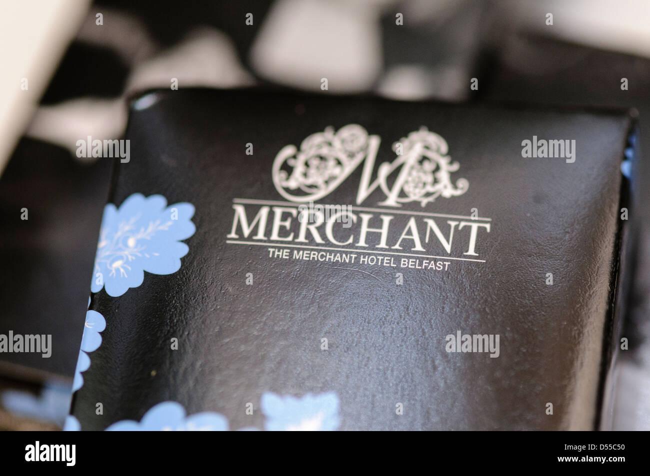 Toiletries in the bathroom of the Merchant Hotel, Belfast - Stock Image