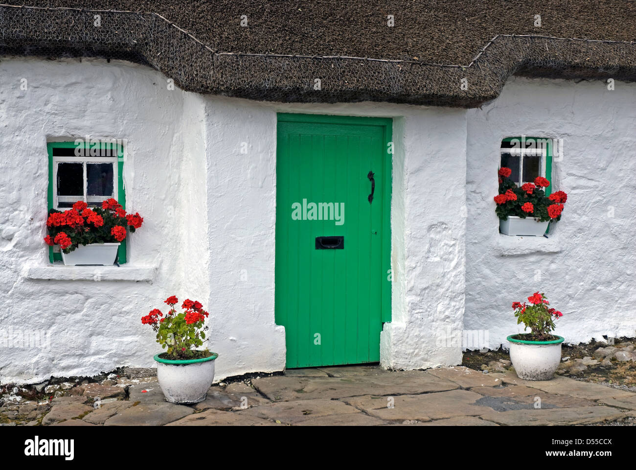 Margaret Gallagher's 200 year old thatched cottage, Country Fermanagh, Northern Ireland - Stock Image