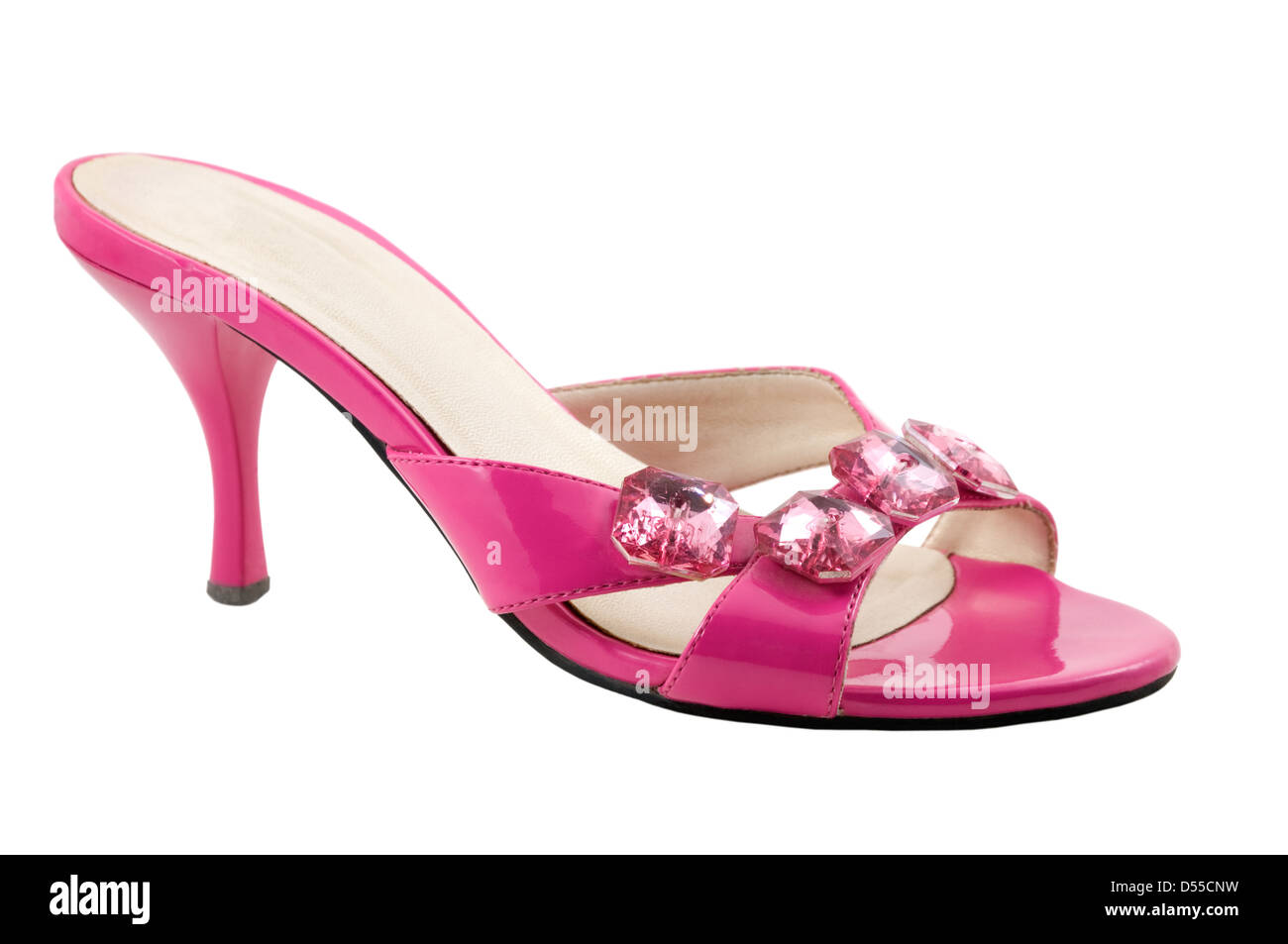 The pink shoe are photographed on the white background - Stock Image