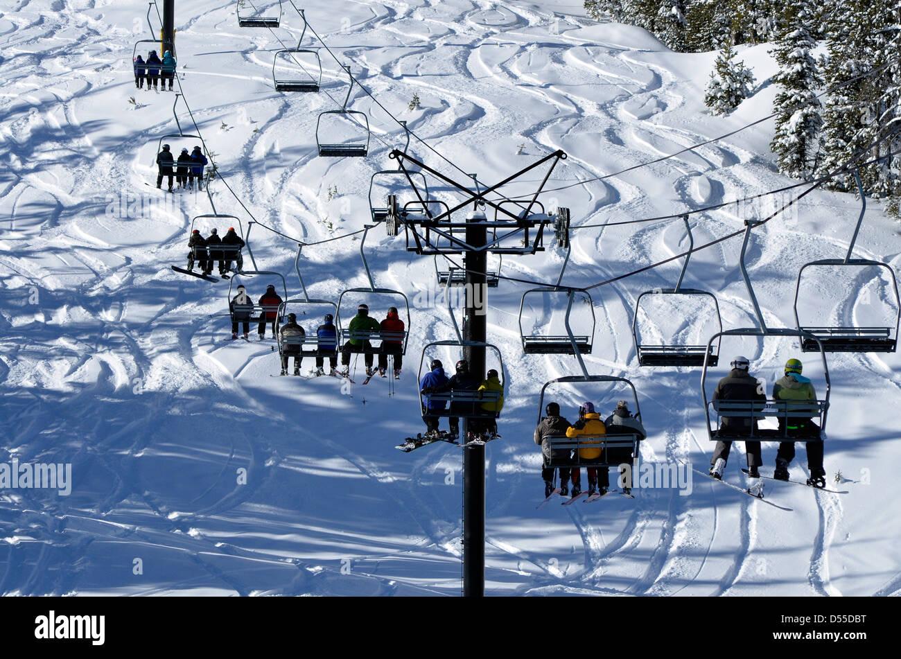 ski run and chair lift, anthony lakes ski area, oregon stock photo