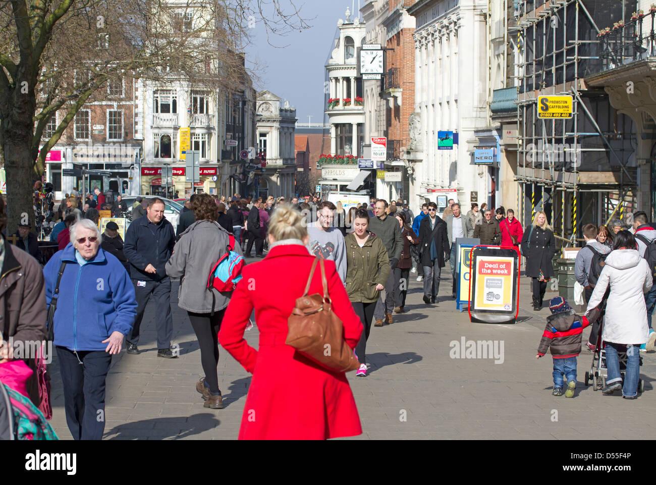 Busy Street Scene Norwich Norfolk England United Kingdom - Stock Image