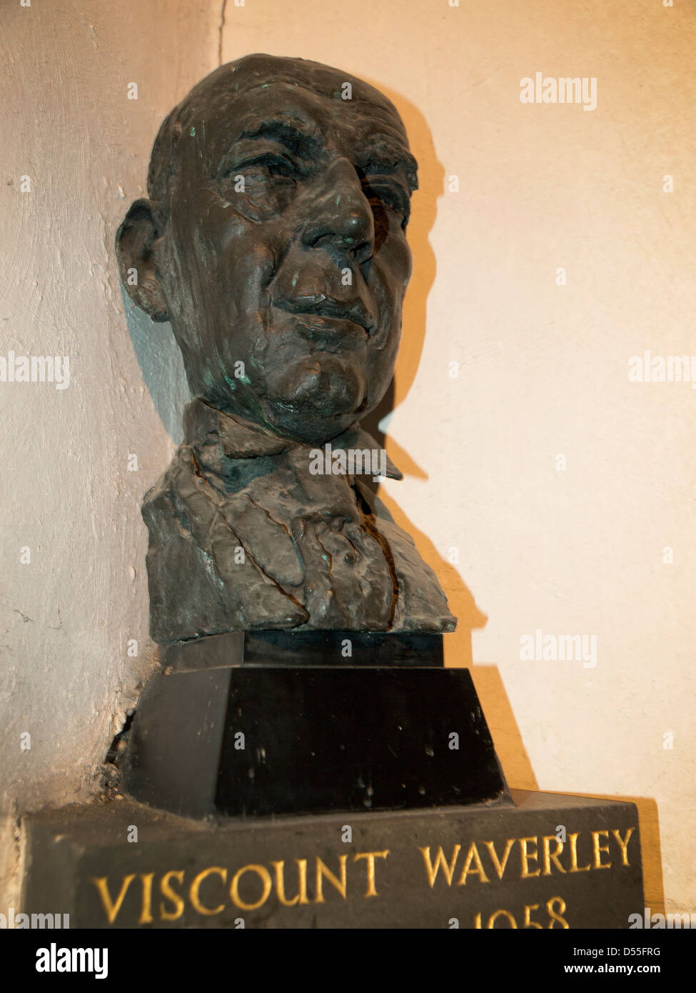 A bust of John Anderson,1st Viscount Waverley by the sculptor Jacob Epstein, in the village church of West Dean. - Stock Image