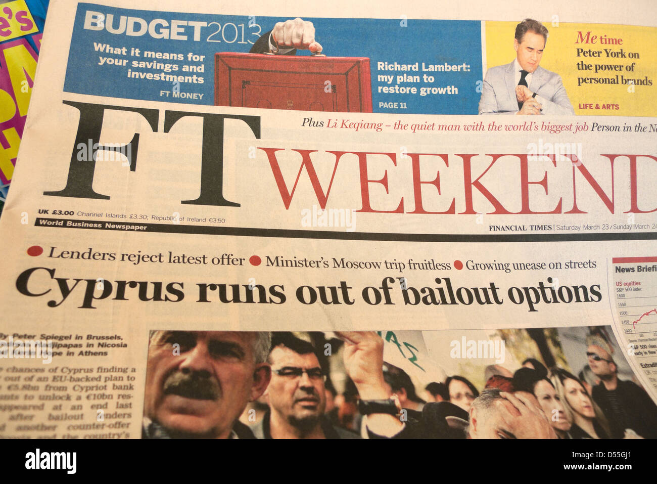 FT Weekend newspaper headline 'Cyprus Runs Out of Bailout Options' 23 March 2013 London England UK - Stock Image