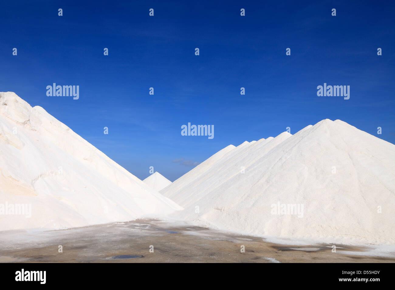 Colonia de Sant Jordi, Spain salt mountains from sea salt - Stock Image